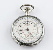 Hochkomplizierte Tachometer Chronograph Taschenuhr Schweiz 1880 Niello Silber