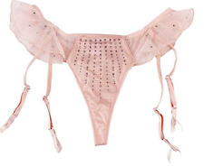 Victoria's Secret Satin & Rhinestone Garter Thong V-String Panty Low Rise Small