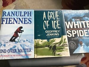 3 REAL LIFE ADVENTURE BOOKS - THE ANTARTIC, THOMPSON ISLAND + ASCENT THE EIGER