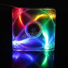 Top Colourful LED Light 92mm 9cm 92x92x25mm DC 12V PC CPU Cooling Fan 3pin+4pin