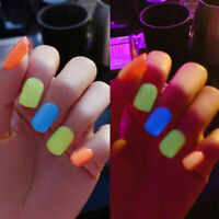 24Pcs Luminous False Nails Acrylic Gel Full French Fake Nails Art Tips Tool@