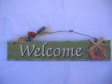 WELCOME GREEN WOODEN COUNTRY SIGN