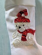 "Christmas Stocking Lined Teddy Bear White Linen & Satin Handmade 17"" Collectible"