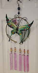 """27"""" Metal Butterfly with Glass Wind Chimes Garden Home Decor Windchimes Outdoor"""