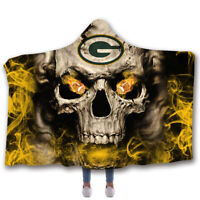 Green Bay Packers Wearable Blanket Hooded Blanket Sherpa Fleece Throw Blanket