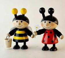 Biene mit Honigeimerchen und Marienkäfer mit Blume Dekofigur je 7,5x5,5 x3,5cm