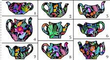 "In The Beginning Teapot Sampler - Digital 1TPS 1 Teapots 24"" Panel Cotton"