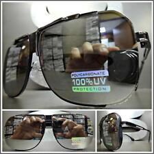 CLASSIC VINTAGE RETRO Style SUN GLASSES Black & Silver Frame Chrome Mirror Lens