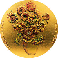 Sunflowers Van Gogh Painters 2 oz Gilded Silver Coin Republic of Ghana 2020