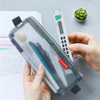 1x Transparent Clear Student Pen Pencil Case Zip Mesh Portable Pouch Storage~