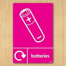 Battery Recycling Sign A5 148x210mm Self-adhesive Vinyl Sticker WRAP Recycle Now