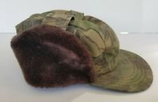 Vintage 70s 3M THINSULATE Thermal Fur Flap TREEBARK Camouflage Cap Hat MEDIUM