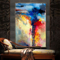 Large Blue Abstract Hand-Painted Oil Painting Home Decoration Canvas