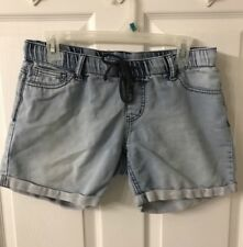 Almost Famous Juniors Size Medium Elastic Waist W Draw String Jean Shorts