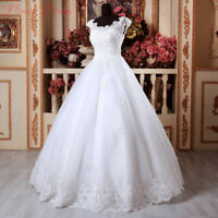 White/Ivory Lace Wedding Dress Cap Sleeves Bridal Ball Gown 4 6-8-10-12-14-16+++