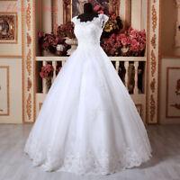 2020 White/Ivory Lace Wedding Dress Cap Sleeves Bridal Gown Custom Size 4-26+