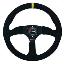 Motamec Race Rally Steering Wheel Semi Dish 350mm Black Suede Black Spoke