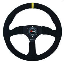 Motamec Race Rally Steering Wheel Semi Dish 350mm Black Suede Black Spoke