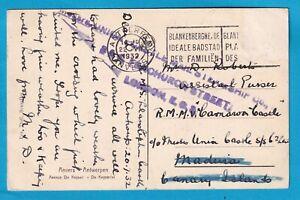 Original Postcard UNION CASTLE LINE sent to PURSER CARNAVON CASTLE CACHET