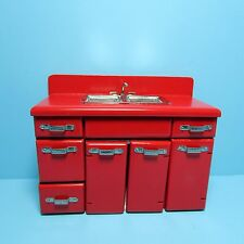 Dollhouse Miniature Kitchen Modern Sink and Cabinet in Red ~ T5957