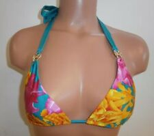 Sauvage Teal, Pink and Orange Floral Halter Bikini Top Small
