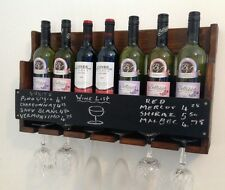 7 bottle wine rack. glass holder. chalk board price list pub club home hotel :