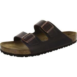 Birkenstock Mens Brown Leather Slip On Slides Footbed Sandals Shoes 46 BHFO 9998
