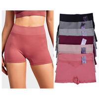 6Pk Seamless Boyshorts High Waist Womens Underwear Panties Boxer Briefs One Size