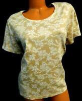 White stag beige white plus size floral round neck short sleeve top XXL