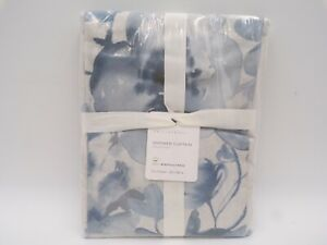 """Pottery Barn Blue Florence Floral Organic Cotton Shower Curtain 72"""" sq #9807U"""