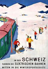 Art Ad  Swiss Ski Skiing Schweiz Winter Sport Travel Poster Print