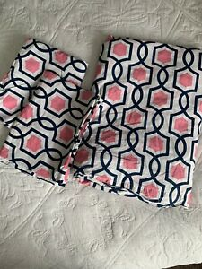Pottery Barn Teen Duvet Shams White Pink Blue Geometric Full Queen