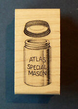 P11 Atlas Mason Jar Antique 2x1 WM Rubber stamp