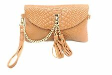 D16066 Chic Tassels Python Embossed Genuine Leather Cross-body Clutch Purse Sale