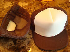 BROWN WHITE TRUCKER 1O LOT CT WHOLESALE BLANK PLAIN 90s HAT CAP VINTAGE SNAPBACK