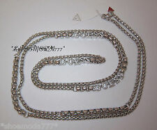 GUESS Exclusive Pave Rope Necklace Collier Rhinestones Silver Tone Gift Pouch