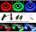 2X 1M 3528 RED LED STRIP LIGHT WATERPROOF CIGARETTE POWER ADAPTER CAR UTE 4WD