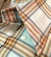 CORNELIANI Mens Sport Casual Shirt MADE IN ITALY Size M IVORY & SALMON CHECK