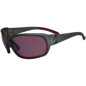 Bolle 11534 Bounty Satin Crystal Grey Frame Rose Blue Lens Mens Wrap Sunglasses