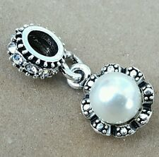 Irridescent White Glass Pearl CZ Crystal Bail European Dangle Pendant Bead Charm