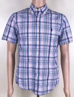 RALPH LAUREN MENS M SHORT SLEEVE BUTTON FRONT Shirt Pink Blue PLAID SLIM  FIT