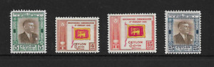 1940-50'S Ceylon - A Selection of 4 Stamps - All Mint and Never Hinged.