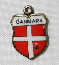 VINTAGE 835 AG SILVER ENAMEL DANMARK (DENMARK) TRAVEL SHIELD BRACELET CHARM