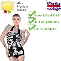 Gothic Punk Rockabilly Skeleton Bones Rib cage Swimsuit Bikini BANNED Apparel