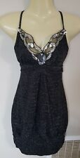 Valleygirl Womens Black Sparkle Glitter Dress beaded sequin neckline Size 10