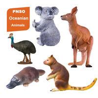 PNSO 5Pcs Oceanian Animals Model Kangaroo Koala Platypus Figure Toy Decor Gift