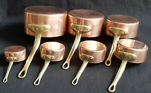 VINTAGE SET OF SEVEN SOLID COPPER PANS - TIN LINED + RIVET MOUNTED BRASS HANDLES