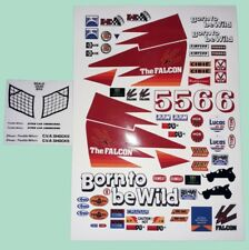 FALCON CUSTOM RED STICKERS WILL FIT MUST 1/10th RC CARS TAMIYA KYOSHO LOSI