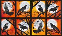 """23"""" Fabric Panel - Robert Kaufman Digital Raven's Moon Halloween Block Orange"""
