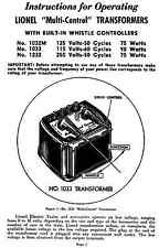 Copy of Lionel 1033 Transformer Instructions AND Service and Repair Manual